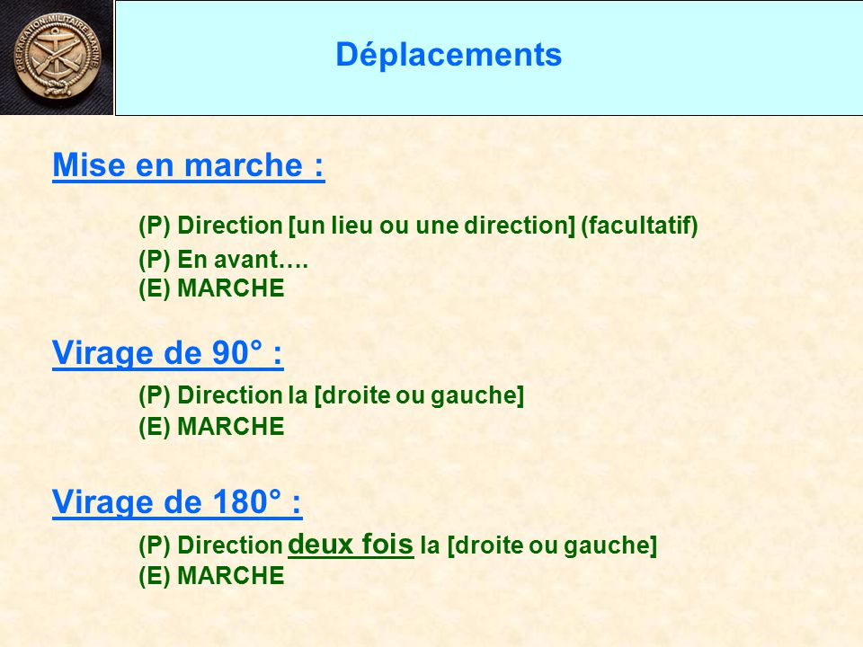 (P) Direction [un lieu ou une direction] (facultatif)
